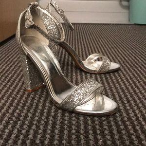 Sparkly silver pumps